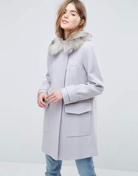 Asos Slim Coat with Faux Fur Trim