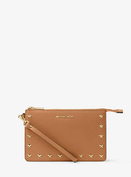 Michael Kors Daniela Studded Leather Wristlet - BROWN - STYLE