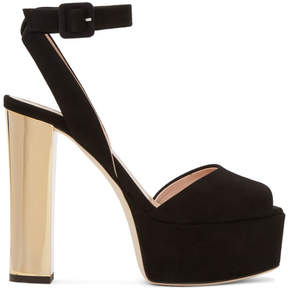 Giuseppe Zanotti SSENSE Exclusive Black and Gold Suede Lavinia Platform Sandals