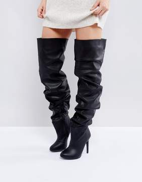 Public Desire Black Slouch Over The Knee Boots