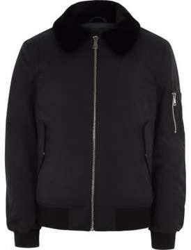 River Island Mens Black faux fur collar aviator jacket