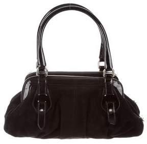 Stuart Weitzman Patent Leather-Trimmed Shoulder Bag