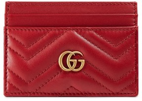 Gucci Women's Gg Marmont Matelasse Leather Card Case - Red - BLACK - STYLE