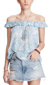 Denim & Supply Ralph Lauren Floral Off The Shoulder Flounce Top.