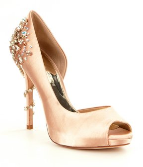 Antonio Melani Carean Satin Rhinestone Jeweled Detail Peep Toe Pumps