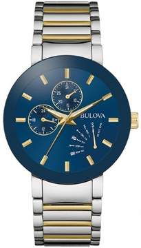 Bulova Mens Classic Collection Stainless Steel Case and Bracelet Blue Dial Two-tone Watch - 98C123