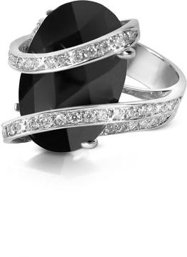 Del Gatto Onyx Diamond Channel 18K Gold Ring