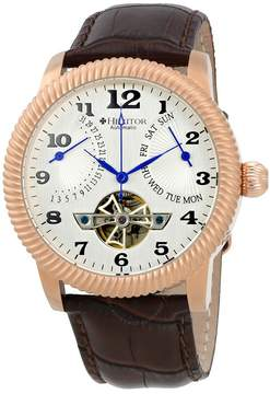 Heritor Piccard Automatic Silver Dial Brown Leather Men's Watch
