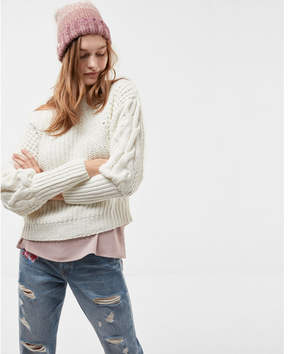 Express matte chenille cable knit sweater