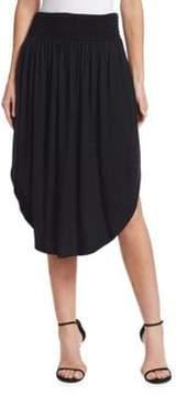 Halston Ruched Waist Midi Skirt