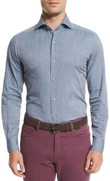 Ermenegildo Zegna Tonal Paisley-Print Chambray Sport Shirt, Blue
