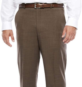 Blend of America STAFFORD Stafford Travel Wool Brown Sharkskin Flat-Front Pant-Big and Tall