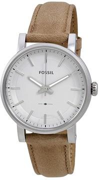 Fossil Original Boyfriend Silver Dial Beige Leather Ladies Watch
