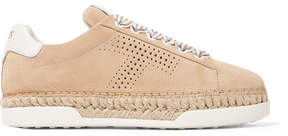 Tod's Perforated Suede Espadrille Sneakers - Beige