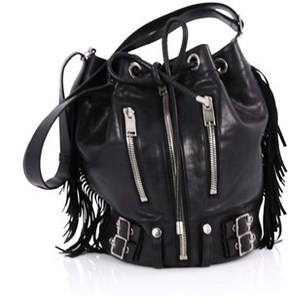 Saint Laurent Pre-owned: Rider Bucket Bag Fringe Leather Large. - BLACK - STYLE