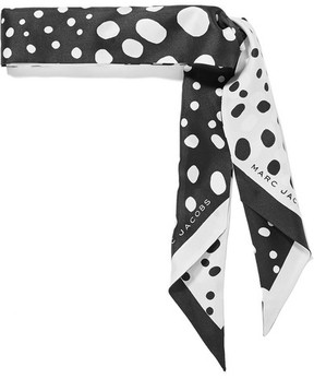 Marc Jacobs Polka-dot Silk-satin Twill Scarf - Black