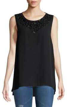 Isaac Mizrahi IMNYC Embellished Neckline Sleeveless Hi-Lo Blouse