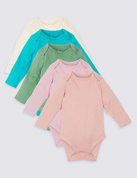Marks and Spencer 5 Pack Pure Cotton Assorted Bodysuits