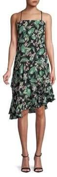 Adelyn Rae Floral Asymmetric Ruffle Midi Dress