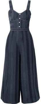 Temperley London Sail Boat Cropped Crepe And Satin Jumpsuit - Navy