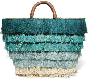 Kayu - Pinata Leather-trimmed Fringed Straw Tote - Blue