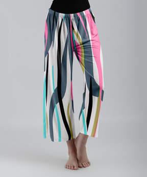 Lily Teal & Pink Ribbon Stripe Palazzo Crop Pants - Women & Plus