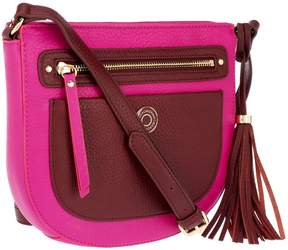 Isaac Mizrahi Live! Bridgehampton Leather Zip Top Crossbody