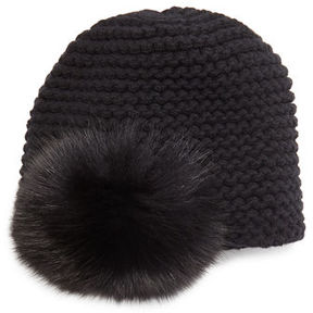 Inverni Fur Pom-Pom Beanie Hat