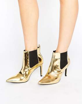 Office Angles Gold Mirror Heeled Ankle Boots
