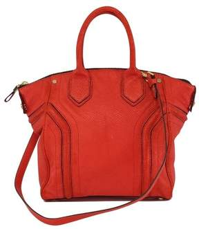 Milly Coral Textured Leather Tote Bag