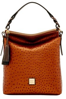 Dooney & Bourke Ostrich Small Sloan Bag. - BRONZE GREY - STYLE