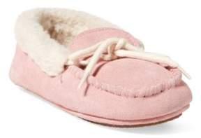 Ralph Lauren Allister Faux-Suede Slipper Light Pink Microsuede 5