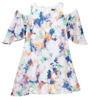 My Michelle mymichelle Floral Print Cold Shoulder Dress (Big Girls)