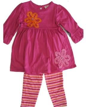 Carter's Little Girls Fuchsia Ruffle Floral Appliques Shirt 2 Pc Legging Set 5
