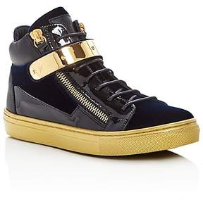 Giuseppe Zanotti Unisex Velvet High Top Sneakers - Toddler, Little Kid