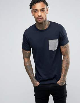 French Connection T-Shirt with Contrast Gingham Pocket