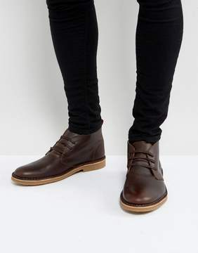 Selected Royce Leather Desert Boots In Brown