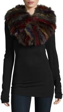 Adrienne Landau Women's Knitted Multicolor Fox Fur Scarf