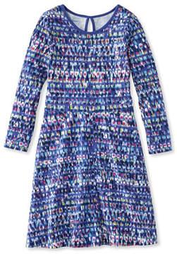 L.L. Bean Girls' Unshrinkable Dress, Long-Sleeve Print