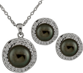 Bella Pearl Sterling Silver Black Pearl Earring and Necklace Set