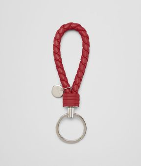 Bottega Veneta China Red Intrecciato Nappa Key Ring