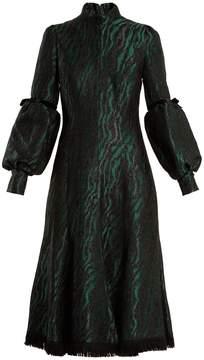 Andrew Gn Zebra-brocade high-neck midi dress