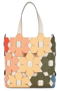 Zac Posen Floral Tile Leather Bucket Bag