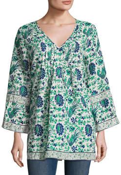 Calypso St. Barth Women's Sepela Linen Vine Peacock Print Tunic