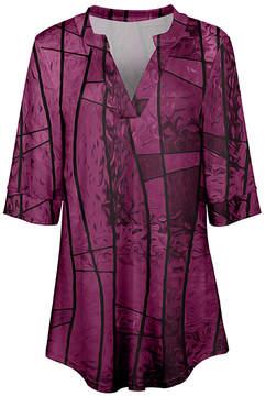Azalea Purple & Black Abstract V-Neck Tunic - Women & Plus