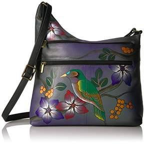 Anuschka Anna by Women's Genuine Leather Twin Zip-Top Small Hobo | Medium Multi-Pocket Shoulder Bag | Grey Bird on Branch