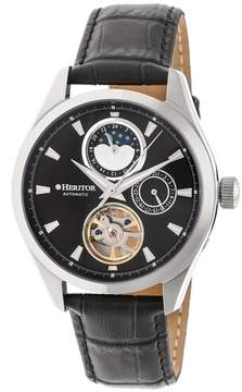 Heritor Sebastian Black Moonphase Dial Black Leather Strap Automatic Men's Watch