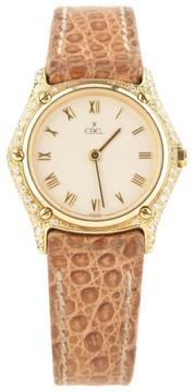 Ebel 1657 18K Yellow Gold w/ Diamonds & Leather Band Quartz 26mm Womens Watch