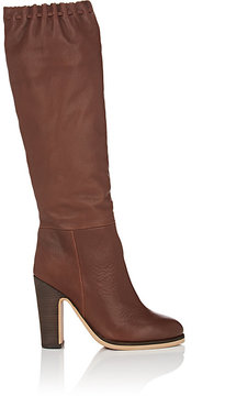 See by Chloe WOMEN'S SCALLOPED-DETAIL LEATHER KNEE BOOTS