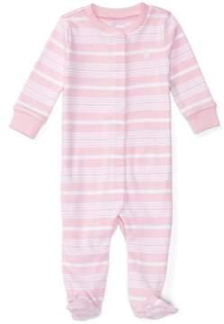 Ralph Lauren | Striped Cotton Sleep Coverall | 6-12 months | Pink